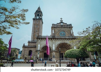 Manila, Phillipines. 1 April 2018. Streetscape and historic walled area of Intramuros  in the modern city of Manila,