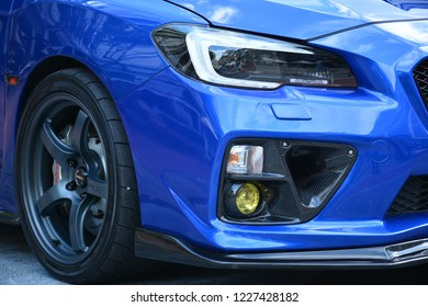 MANILA, PH-NOV 10: Subaru WRX STI sports car sedan front light on November 10, 2018 at Trans Knight Motor Show in Manila, Philippines. Trans Knight is a event for auto aftermarket in the Philippines.