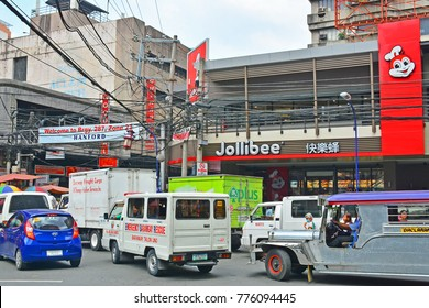 MANILA, PH-OCT 7: Jollibee Fast Food facade on October 7, 2017 in Binondo, Manila, Philippines.