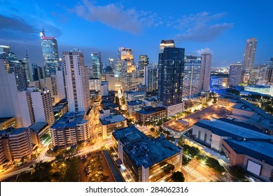 Manila Skyline. Eleveted, night view of Makati, the business district of Metro Manila.