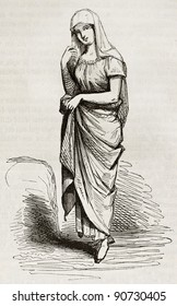 Manila woman old engraved portrait. By unidentified author published on Magasin Pittoresque, Paris, 1844