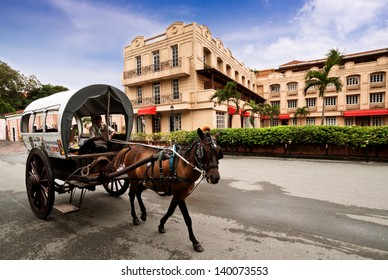 MANILA,PHILIPPINE -MAY2:A horse drawn carriage the most popular forms of transportation in Intramuros on May 2,2012  Manila Philippines. Intramuros is the oldest district and historic core of Manila.