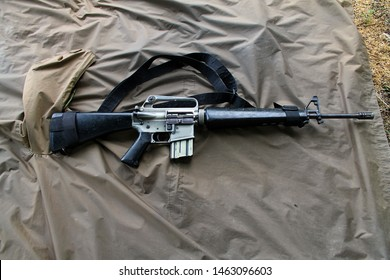 Manila/Philippines- 13/08/2019: The M16 rifle, officially designated Rifle, Caliber 5.56 mm, M16, is a family of military rifles adapted from the ArmaLite AR-15 rifle for the United States military.