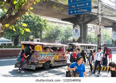 Manila/Philippines - February 7, 2019: jeepneys doing loading and unloading on no loading and unloading area