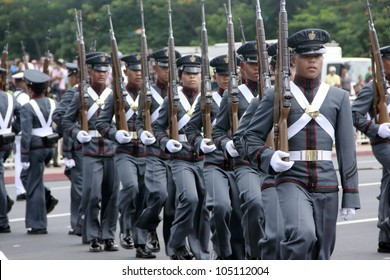 MANILA,PHILIPPINES-JUNE 12:Cadets of the Philippines military academy perform at The Philippines Independence day on June 12, 2012  in Manila. The Philippines celebrate the 114th Independence Day.