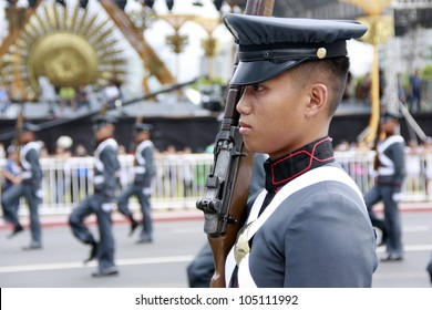 MANILA,PHILIPPINES-JUNE 12:Young Officer of the military in the parade at The Philippines Independence day on June 12, 2012  in Manila. The Philippines celebrate the 114th Independence Day.