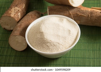Manioc Flour in a bowl over a wooden table