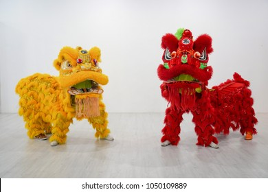 manipulated China Lion, Asian traditional activity for celebration., Thailand.