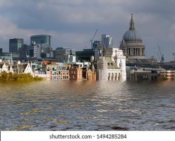 manipuliertes konzeptionelles Bild der Stadt von London, die aufgrund der Erderwärmung und des Anstiegs des Meeresspiegels überschwemmt wurde