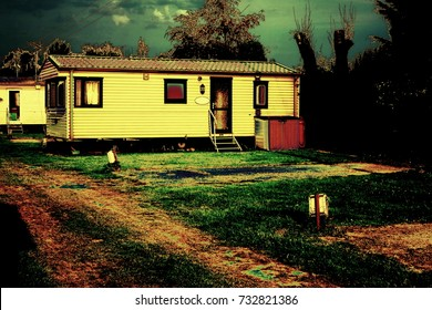 A Manipulated Static Caravan Mobile Home on a Holiday Park