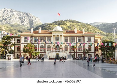 Manisa, Turkey - April 21, 2016: The Governorship of Manisa is located in the city center. Administrative and urban decisions are taken in the governorate, which is an old and large structure.