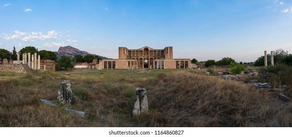 MANISA, TURKEY, August 17, 2018, Panoramic view of the ancient city of Sardes Gymnasium. Manisa - Turkey
