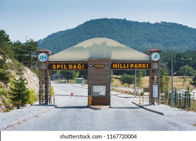 MANISA, TURKEY , AUGUST 17, 2018 , Spil mountain national park entrance gate. In the national park there are wild horses and natural lilies. It is the most visited tourist spot of Manisa province.