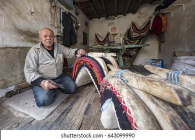 Manisa, Turkey - May 13, 2017: Manisa Kula county Saddle maker
