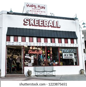 Manitou Springs, CO / USA - June 6, 2018: The Skeeball Building at the vintage  Penny Arcade.