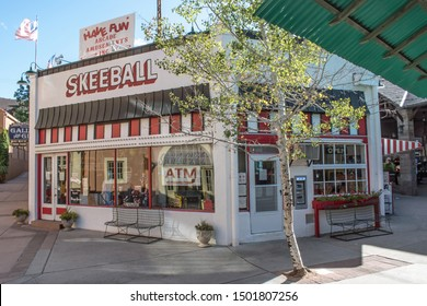 Manitou Springs, CO / USA - September 10, 2019: The Penny Arcade in Manitou Springs offers hundreds of vintage arcade and video games including Skeeball.