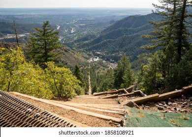 Manitou Springs, Colorado - September 15, 2020: The old railroad ties that make up the Manitou Incline hike in Colorado. Looking down from the top shows how steep this is