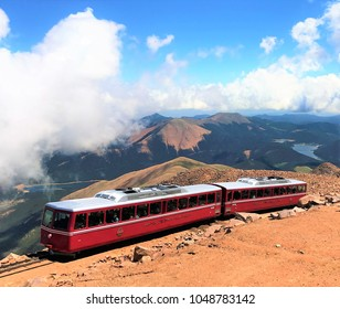 Manitou Springs, Colorado, USA - July 16, 2017: Train leaving from the top of Pike's Peak.