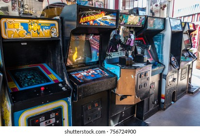 Manitou Springs, CO/USA - September 6, 2016 - A collection of classic arcade machines at Arcade Amusements in Manitou Springs, Colorado.