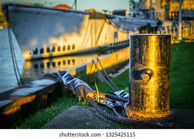 Manitowoc, WIsconsin – August 8, 2016: The sun rises on mooring of the USS Cobia at the Wisconsin Maritime Museum.
