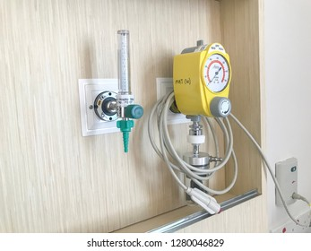 Manjong, Perak, Malaysia - December 30, 2018; Control and pressure gauge as part of an oxygen delivery mask in the hospital. Selective focus.