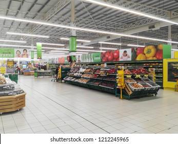 Manjung, Perak / Malaysia - 24 October 2018 : Vegetable and fruit sale on tesco supermarket display rack.