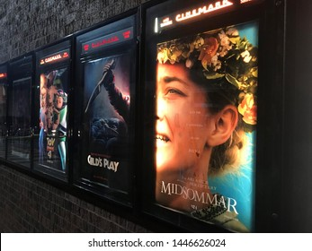Mankato, MN / USA - July 3 2019: Movie Posters outside of theater