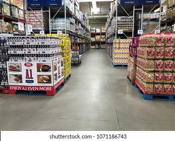 Mankato, MN/USA- April 15, 2018. Interior of membership-only retail warehouse store called Sam's Club which sells items in wholesale and in bulk to members.