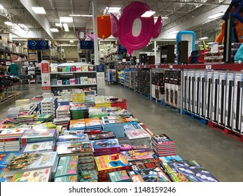 Mankato, MN/USA- April 15, 2018. Empty aisles of a Sam's Club, a membership-only wholesale store which is owned by Walmart. Included are books and flotation devices for swimming.