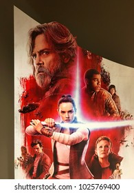 Mankato, MN/USA- December 23,2017- Large standup sign depicting the newest Star Wars movie called The Last Jedi on display in Mankato, Minnesota.