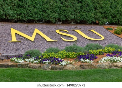 MANKATO, MN/USA - SEPTEMBER 1, 2019: Entrance and logoon the campus Minnesota State University.