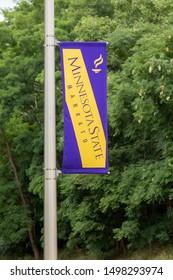 MANKATO, MN/USA - SEPTEMBER 1, 2019: Banner and logo on the campus Minnesota State University.