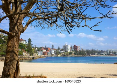 Manly beach In Sydney Australia with city in background.