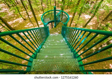 Manmade structure and bridge to experience a treetops adventure challenge or activity in a forest