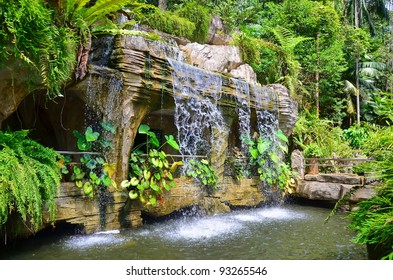 A man-made waterfall in Malacca Botanic Garden, Malaysia