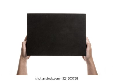 A man(male) hand hold a empty(blank, vacant) black box isolated white.
