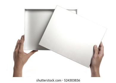 A man(male) hand hold a empty(blank, vacant) iron(aluminum) box isolated white.