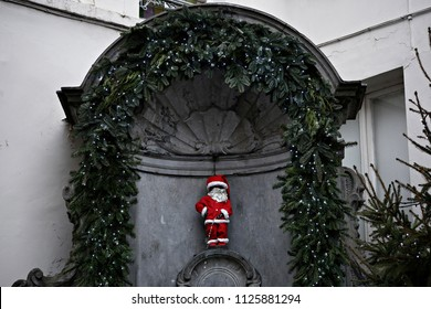 Manneken Pis fountain dressed like Santa Claus in Brussels, Belgium on Dec. 25, 2016.