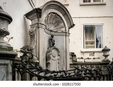 Manneken Pis, located in the centre of Brussels, Belgium
