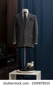Mannequin with bespoke jacket in traditional technique of tailoring