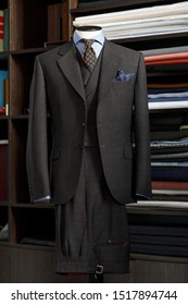 Mannequin with bespoke jacket in traditional technique of tailoring. Men's Clothing
