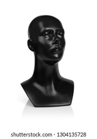 Mannequin black head, isolated on white background