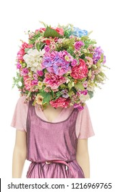 Mannequin with a bouquet of flowers instead of a head on a white isolated background