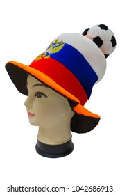 Mannequin in cap of Russian football fan isolated on white background