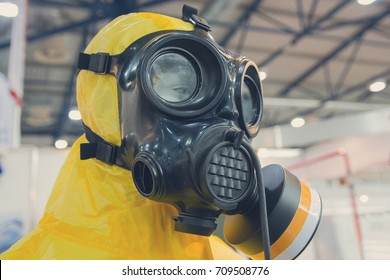 Mannequin dressed in a chemical protection suit. industry