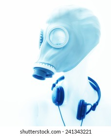 mannequin female doll with gas mask and headphones,abstract party night club background