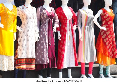 Mannequin Of Female Girls Wearing Colorful Indian Traditional Cultural Fashion Trendy Ethnic Dress Salwar Suit