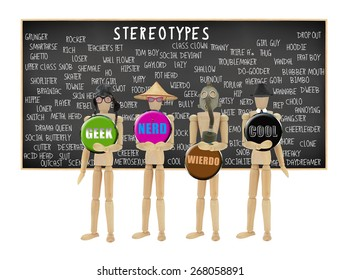 Mannequin Geek, Nerd, Wierdo and Cool in front of Stereotypes Chalkboard isolated on white background