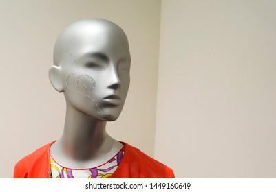 mannequin girl head in a shop window