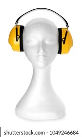 Mannequin with headphones on white background. Hearing protection